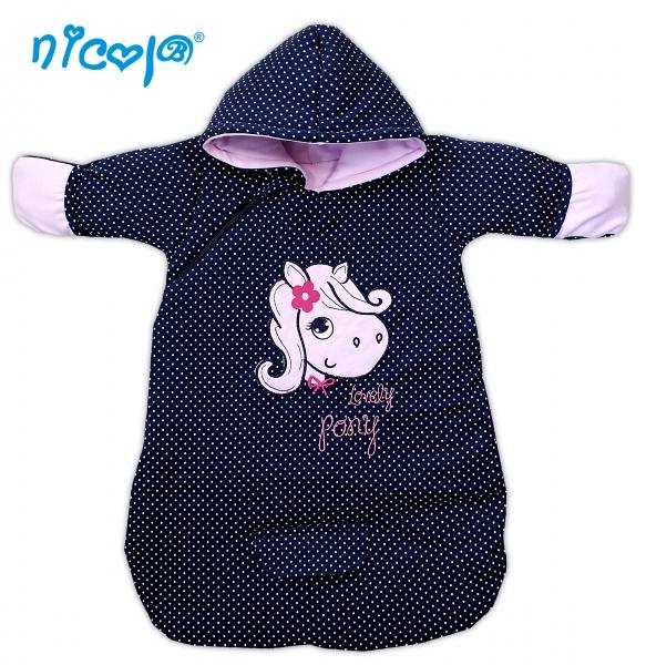 Bavlnený spací vak s kapucňou LOVELY PONY- tm. modrý/bodky