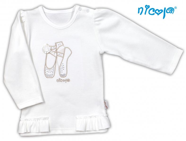 Bavlnené tričko/blúzka NICOL BALETKA dlhý rukáv - smotanová, 98 (24-36m)