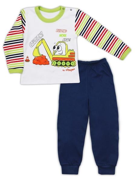 Bavlnené pyžamo NICOL BAGR - tm. modré / biele, 80 (9-12m)