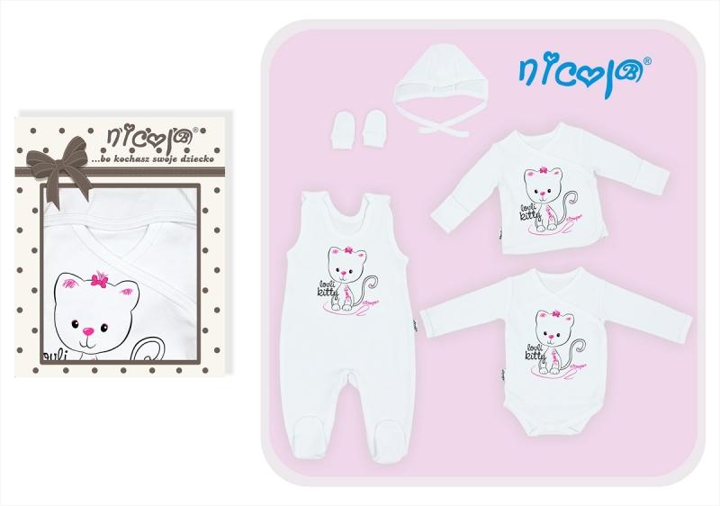 5-dielna súprava do pôrodnice NICOL Mačička - biela