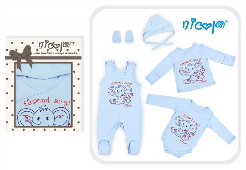 5-dielna súprava do pôrodnice NICOL Sloník - modrý
