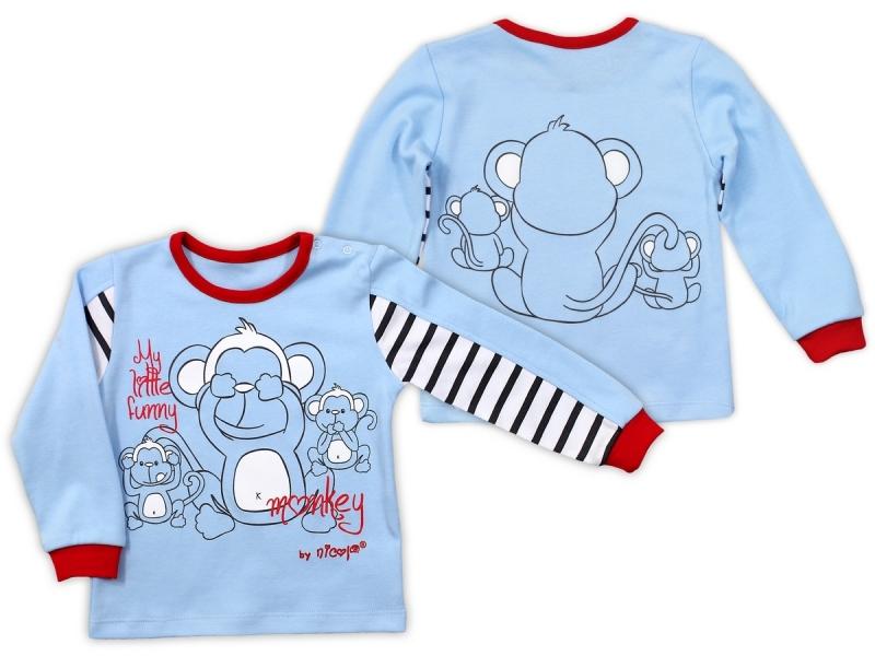 Bavlnené tričko Nicol Monkey dlhý rukáv - sv. modrá, veľ 74
