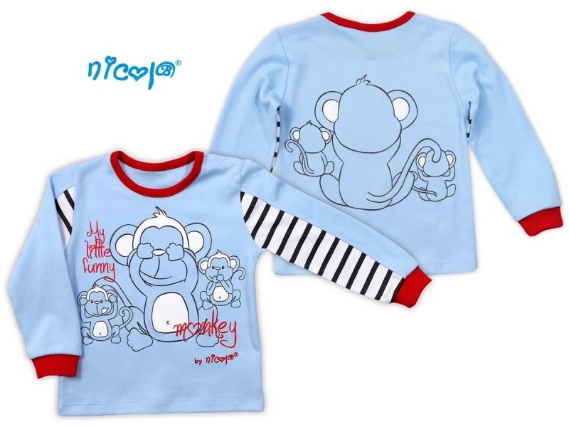 Bavlnené tričko NICOL MONKEY dlhý rukáv - sv. modrá, 98 (24-36m)