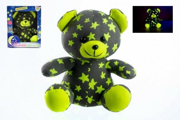 Teddies Medvedík svietiace v tme 21cm ružový / zelený plyš v krabici