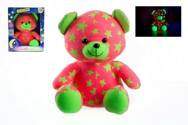 Teddies Medvedík svietiace v tme 21cm ružový/zelený plyš v krabici