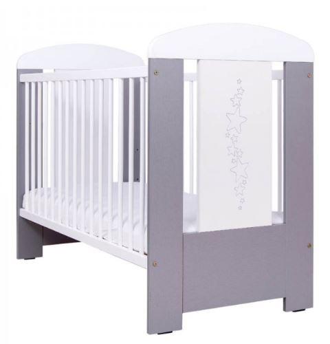 Detská postieľka Drewex hviezdicky - sivá, 120x60cm, 120x60