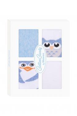 Dojčenské ponožky CANDY BOX - Sovička a tučňáček - modré