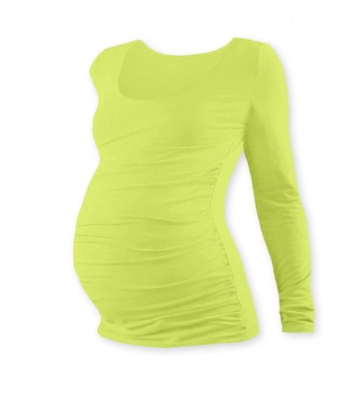 JOŽÁNEK Tehotenské tričko Johanka s dlhým rukávom - sv. zelená