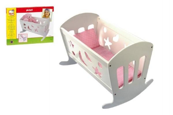 Teddies Kolíska pre bábiky drevo 50x36cm + paplónik + vankúšik + podložka v krabici