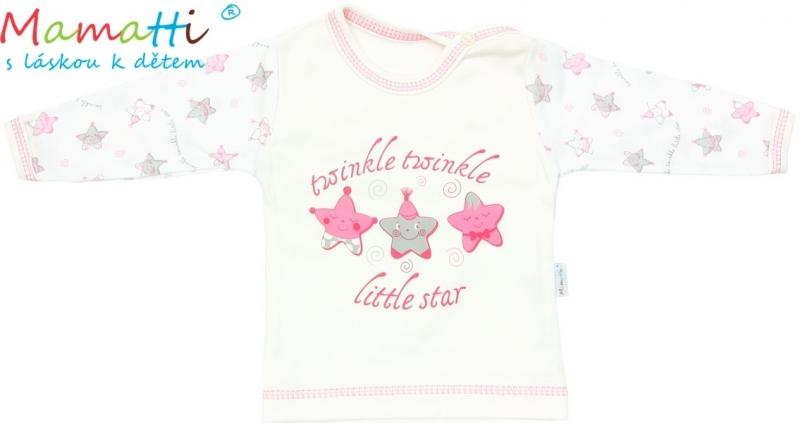 Tričko / košieľka dlhý rukáv Mamatti - STAR - smotanové/hvezdičky, 80 (9-12m)