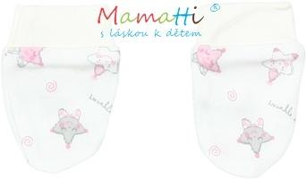 Dojčenské rukavičky Mamatti - STAR -smotanové/hvezdičky