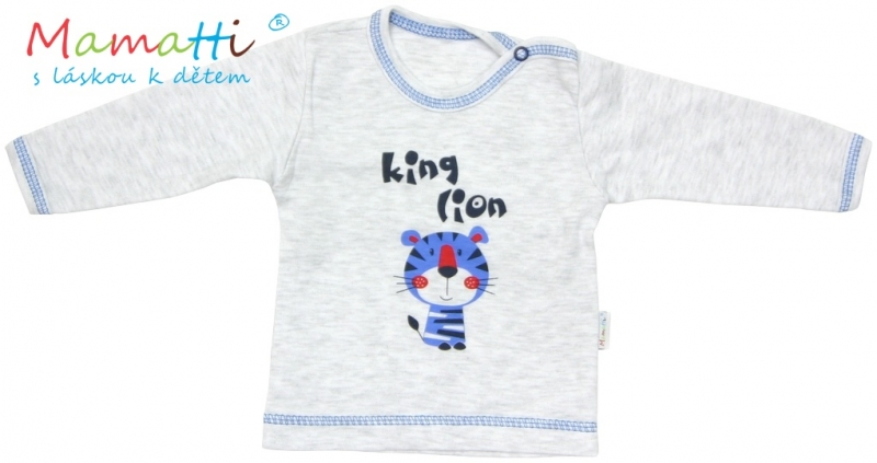 Tričko / košieľka dlhý rukáv Mamatti - LION -sivý melír, 80 (9-12m)