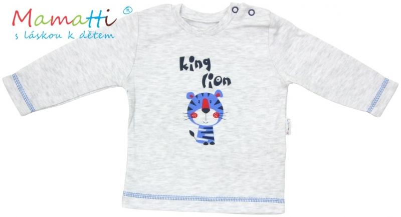 Tričko dlhý rukáv Mamatti - LION - sivý melír-68 (4-6m)
