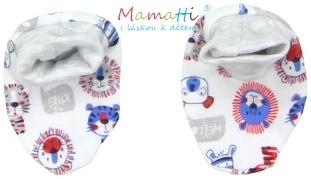 Topánočky / ponožtičky BAVLNA Mamatti - LION - potlač lion