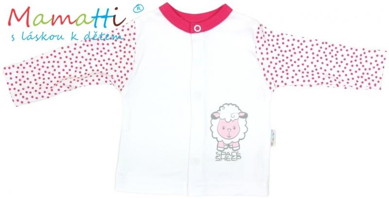 Bavlnená košieľka Mamatti - SHEEP - biela / červené bodky, 62 (2-3m)