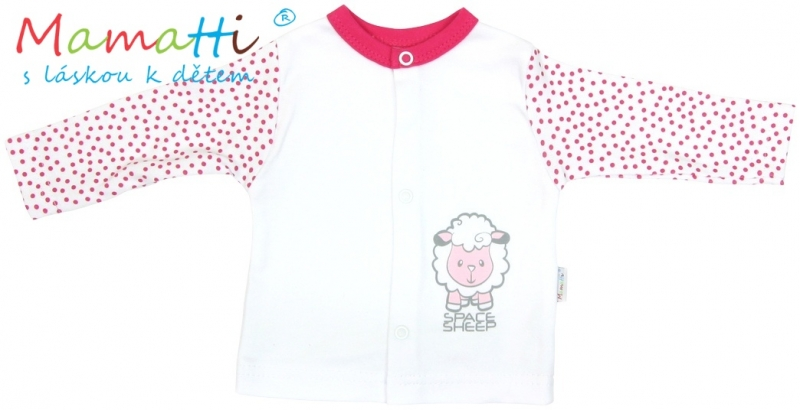 Bavlnená košieľka Mamatti - SHEEP - biela / červené bodky-80 (9-12m)