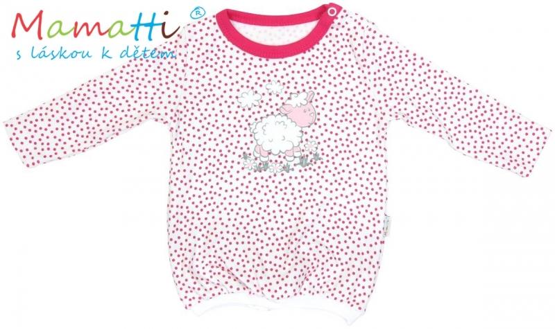Blúzka / tričko dlhý rukáv Mamatti SHEEP - červený puntík, 80 (9-12m)