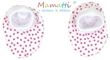 Topánočky / ponožtičky BAVLNA Mamatti - SHEEP - červený puntík