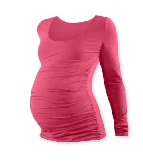 JOŽÁNEK Tehotenské tričko JOHANKA s dlhým rukávom - lososovo ružová
