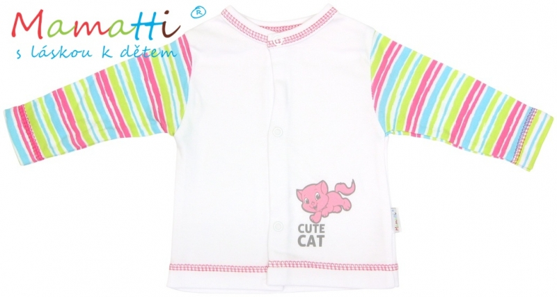 Bavlnená košieľka Mamatti -CAT - biela /farebné prúžky