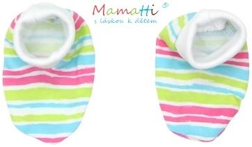 Topánočky / ponožtičky BAVLNA Mamatti - CAT - farebné prúžky