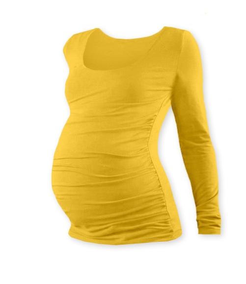 JOŽÁNEK Tehotenské tričko JOHANKA s dlhým rukávom - žltooranžová