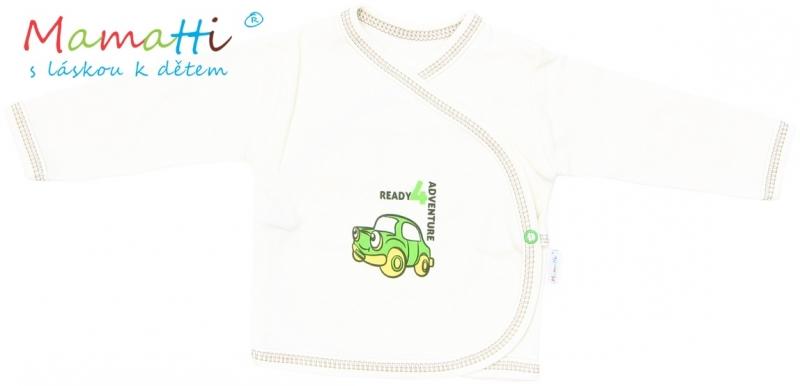 Novorodenecká košieľka Mamatti CAR - krémová, 62 (2-3m)