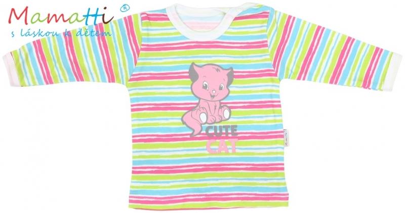 Tričko / košieľka dlhý rukáv Mamatti - CAT- farebné prúžky, 68 (4-6m)