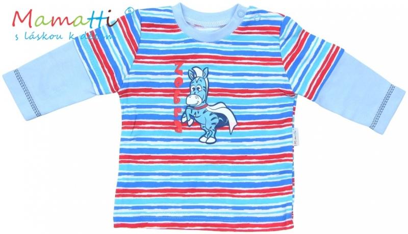 Tričko dlhý rukáv Mamatti - ZEBRA - sv. modré / farebné prúžky-#Velikost koj. oblečení;74 (6-9m)