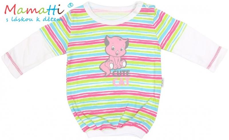 Blúzka / tričko dlhý rukáv Mamatti CAT - biele/farebné pružky