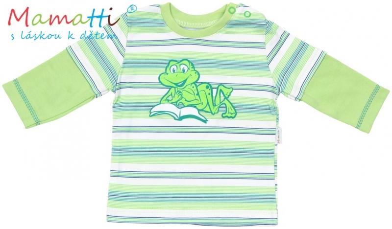 Tričko dlhý rukáv Mamatti - FROG - zelené/zelené prúžky