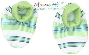 Topánočky / ponožtičky BAVLNA Mamatti -FROG - zelené prúžky