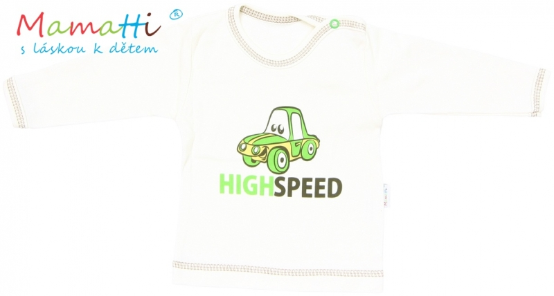 Tričko / košieľka dlhý rukáv Mamatti - CAR - krémové, 80 (9-12m)