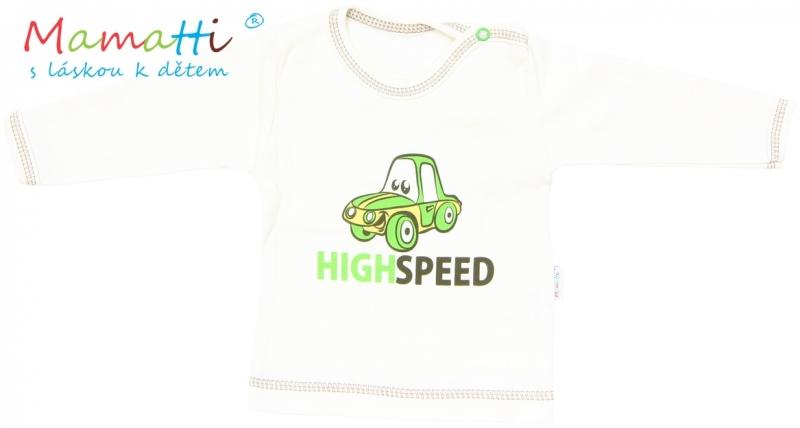 Tričko / košieľka dlhý rukáv Mamatti - CAR - krémové-86 (12-18m)