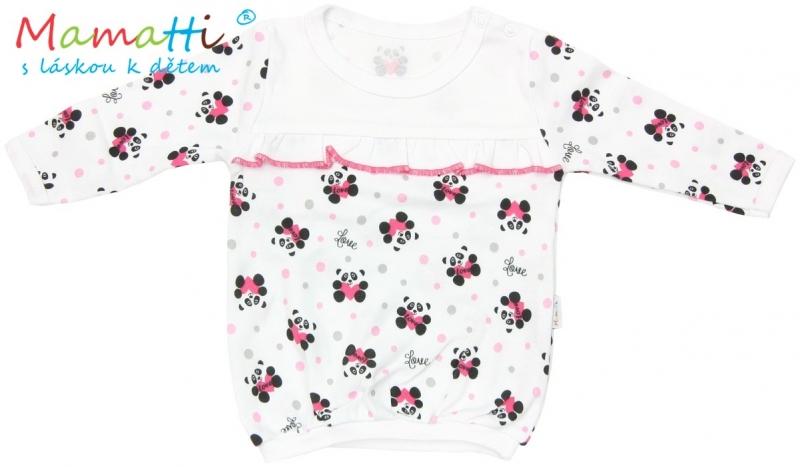 Blúzka / tričko dlhý rukáv Mamatti PANDA - biela / potlač panda, 98 (24-36m)