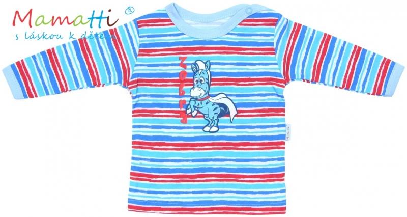 Tričko / košieľka dlhý rukáv Mamatti - ZEBRA - sv. modrá / farebné prúžky, 80 (9-12m)