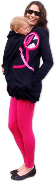 Nosiaci mikina - pre nosenie dieťaťa vpredu aj vzadu na tele - ružové aplikácie, veľ. M/L