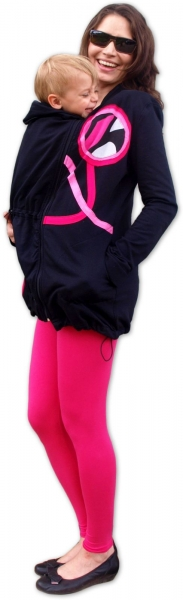 Nosiaci mikina - pre nosenie dieťaťa vpredu aj vzadu na tele - ružové aplikácie, veľ. L/XL