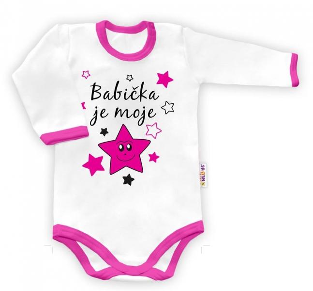 Baby Nellys Body dlhý rukáv vel. 86,  Babička je moje hvězda - biele/růžový lem-86 (12-18m)