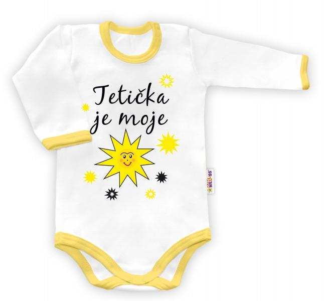 Baby Nellys Body dlhý rukáv Tetička je moje sluníčko - biele/žltý lem
