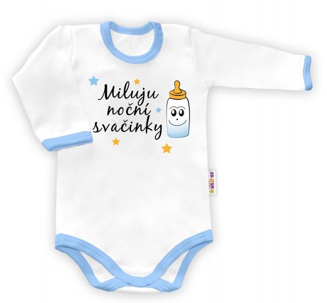 Baby Nellys Body dlhý rukáv Miluju noční svačinky - biele/modrý lem