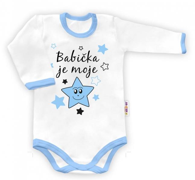 Baby Nellys Body dlhý rukáv vel. 86, Babička je moje hvězda - biele/modrý lem-86 (12-18m)