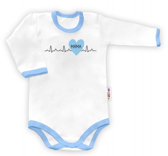 Baby Nellys Body dlhý rukáv vel. 56, Máma v srdíčku - biele/modrý lem