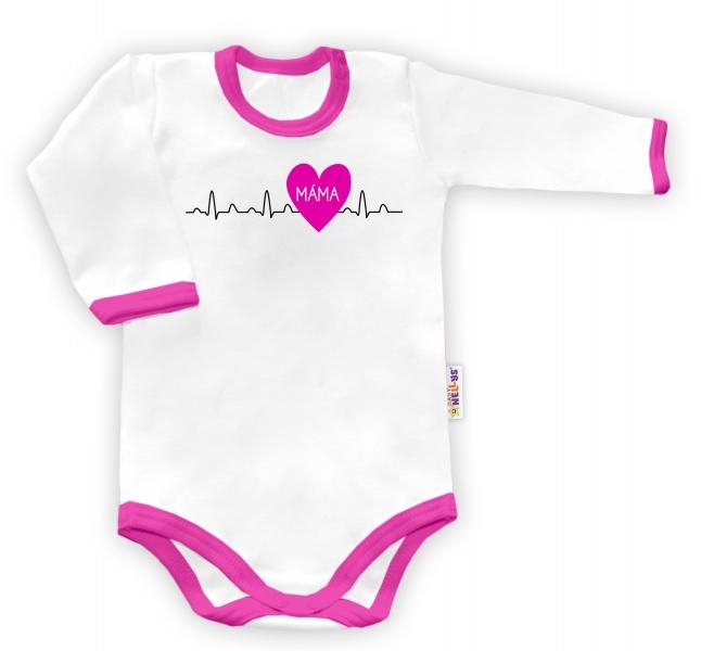 Baby Nellys Body dlhý rukáv vel. 74, Máma v srdíčku - biele/růžový lem