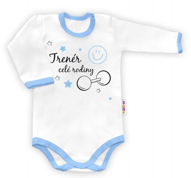 Baby Nellys Body dlhý rukáv vel. 86, Trenér celej rodiny - biele/modrý lem-86 (12-18m)