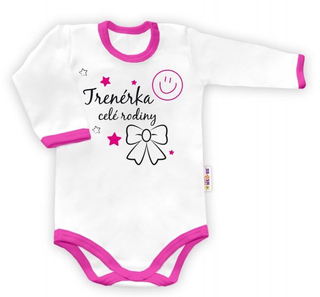 Baby Nellys Body dlhý rukáv vel. 86, Trenérka celej rodiny  - biele/růžový lem-86 (12-18m)