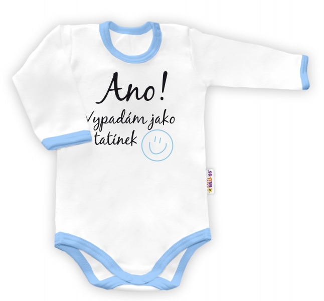 Baby Nellys Body dlhý rukáv vel. 86, Ano, vypadám jak tatínek - biele/modrý lem-86 (12-18m)