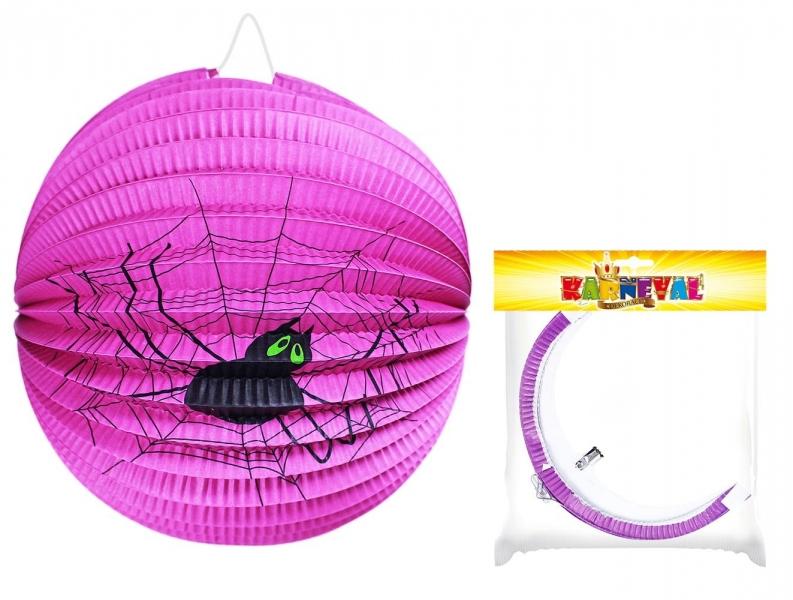 Rappa Lampión fialový s pavúkom Halloween gule, 25cm