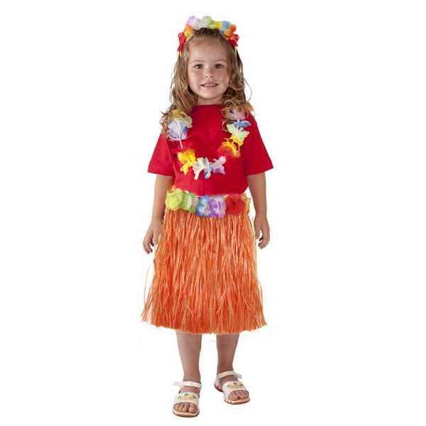 Rappa Sukne Hawaii detská 45 cm, oranžová