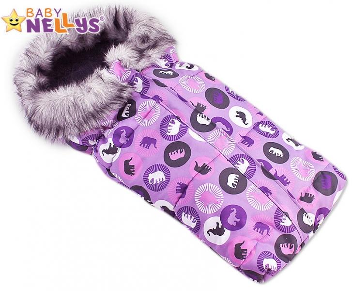 Fusak nielen do autosedačky Baby Nellys ® fialová Eskymo s kožušinkou LUX
